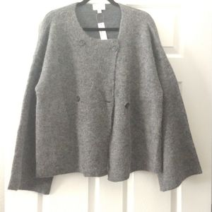 J. Crew Double Breasted Collarless Coat